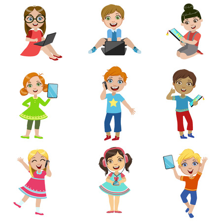 Illustration pour Kids And Modern Technology Set Of Bright Color Isolated Vector Drawings In Simple Cartoon Design On White Background - image libre de droit