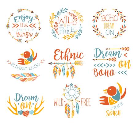 Boho Logo Hand Drawn Banner Set Of Artistic Decorative Vector Design Writing