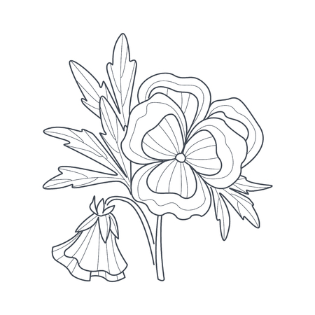Illustration pour Pansy Flower Monochrome Drawing For Coloring Book Hand Drawn Vector Simple Style Illustration - image libre de droit