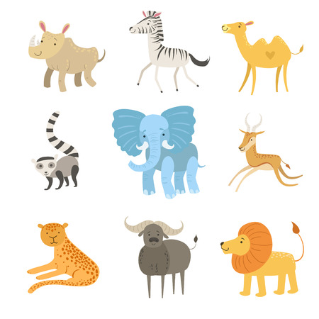 African Animals Illustration Set Of Stylized Cute Childish Flat Vector Drawings Isolated On White Background