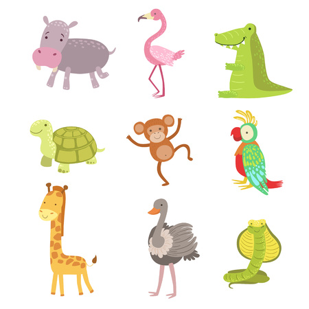 African Animals Icon Set Of Stylized Cute Childish Flat Vector Drawings Isolated On White Background