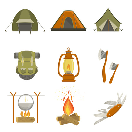 Illustration pour Camping Related Objects Set Of Simple Design Illustrations In Cute Fun Cartoon Style Isolated On White Background - image libre de droit