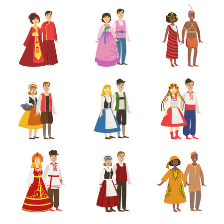Illustration pour Couples Wearing National Costumes Set Of Simple Design Illustrations In Cute Fun Cartoon Style Isolated On White Background - image libre de droit