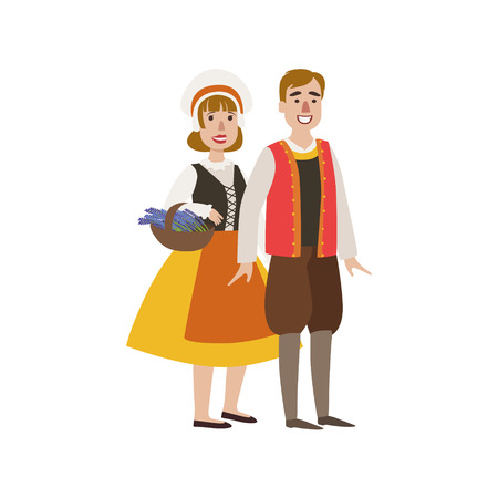 Illustration pour Couple In French National Clothes Simple Design Illustration In Cute Fun Cartoon Style Isolated On White Background - image libre de droit