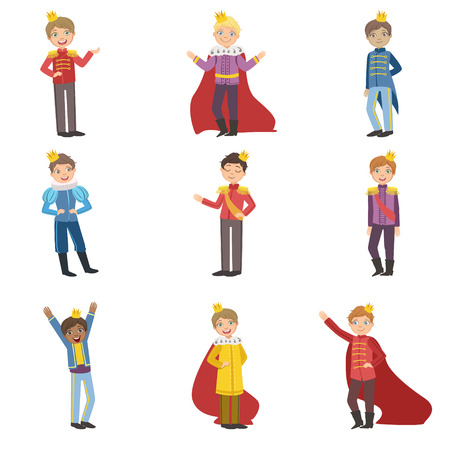 Illustration for Little Boys Dressed As Fairy Tale Princess Set Of Cute Flat Characters In Bright Colored Clothes Isolated On White Background - Royalty Free Image