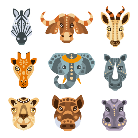 African Animals Stylized Geometric Portrait Set Of Flat Colorful Vector Icons Isolated On White Background