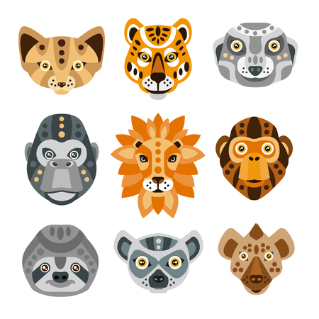 Illustration for African Animals Stylized Geometric Heads Set Of Flat Colorful Vector Icons Isolated On White Background - Royalty Free Image