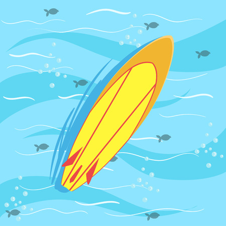 Illustration pour Surfing Board With Blue Sea Water On Background. Beach Vacation Related Illustration Drawn From Above In Simple Vector Cartoon Style. - image libre de droit