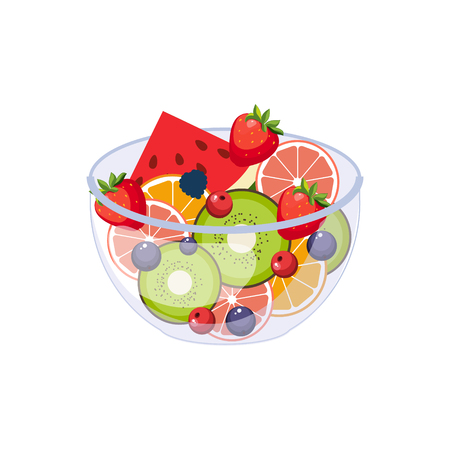Illustration pour Fruit Salad Breakfast Food Element Isolated Icon. Simple Realistic Flat Vector Colorful Drawing On White Background. - image libre de droit