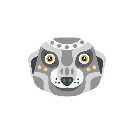 Meerkat African Animals Stylized Geometric Head. Flat Colorful Vector Creative Design Icon Isolated On White Background