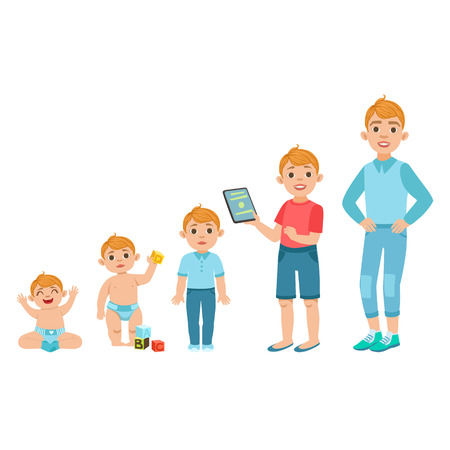 Ilustración de Caucasian Boy Growing Stages With Illustrations In Different Age. Simple Cute Drawings Showing The Same Person As Baby, Kid, Teenager And Adult. Flat Vector Illustration On White Background. - Imagen libre de derechos