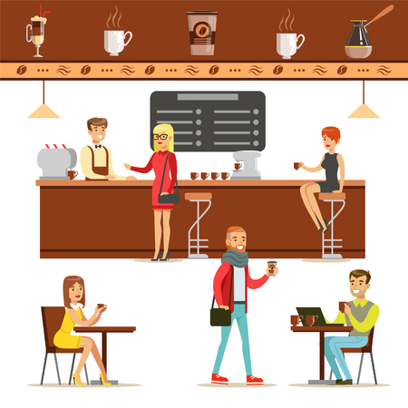 Illustration for Interior Design And Happy Clients Of A Coffee Shop Set Of Illustrations. People Ordering And Enjoying Drinks And Food In A Cafe Colorful Simple Vector Drawings. - Royalty Free Image