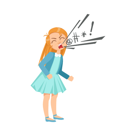 Illustrazione per Girl Cursing Teenage Bully Demonstrating Mischievous Uncontrollable Delinquent Behavior Cartoon Illustration. Cute Big-Eyed Child Vector Character Behaving Aggressively And Bullying Other Children. - Immagini Royalty Free