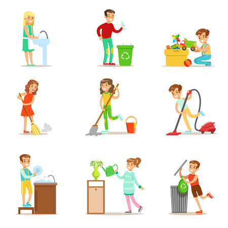 Illustration pour Children Helping With Home Cleanup, Washing The Floor, Throwing Out Garbage And Watering Plants - image libre de droit