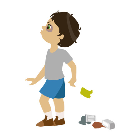 Illustrazione per Boy Littering, Part Of Bad Kids Behavior And Bullies Series Of Vector Illustrations. - Immagini Royalty Free