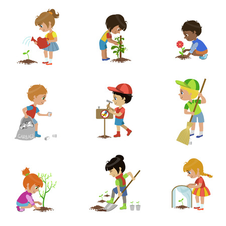 Illustration for Kids Gardening Illustrations Set - Royalty Free Image