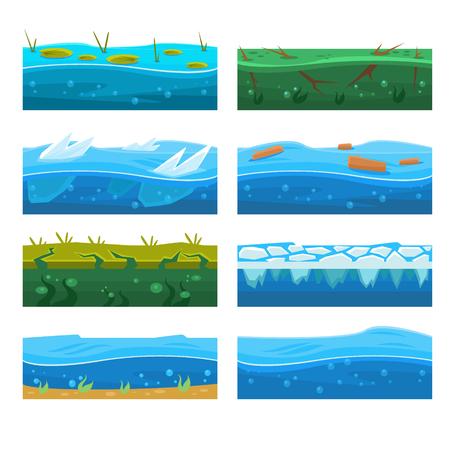 Illustration pour Water Platformer Level Floor Design Set - image libre de droit