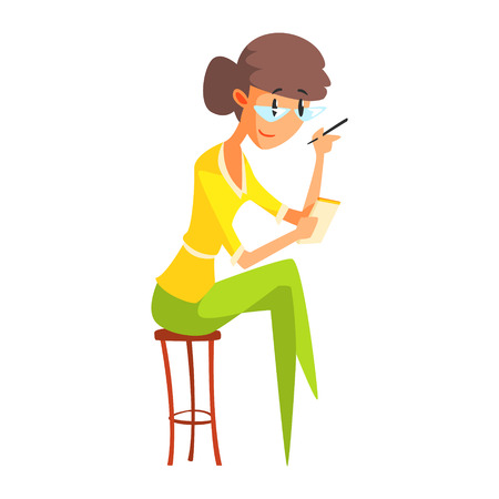 Illustration pour Journalist In Glasses Taking Notes, Official Press Reporter Working, Collecting Information And Making News, Part Of Journalism Set Of Illustrations - image libre de droit