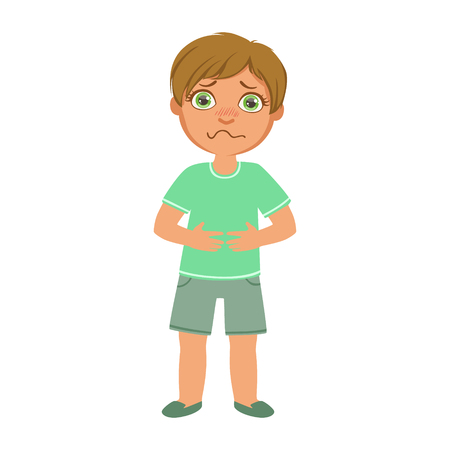 Illustration pour Boy With Stomach Cramps,Sick Kid Feeling Unwell Because Of The Sickness, Part Of Children And Health Problems Series Of Illustrations - image libre de droit
