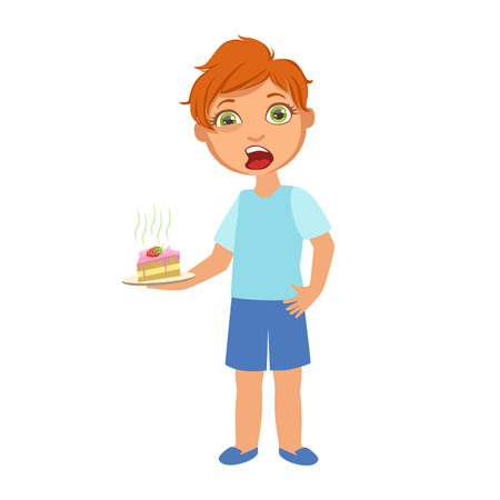 Illustration pour Boy With Cake Nauseous,Sick Kid Feeling Unwell Because Of The Sickness, Part Of Children And Health Problems Series Of Illustrations - image libre de droit