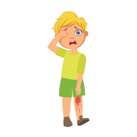 Illustration pour Boy With Bleeding Scratched Knee,Sick Kid Feeling Unwell Because Of The Sickness, Part Of Children And Health Problems Series Of Illustrations - image libre de droit