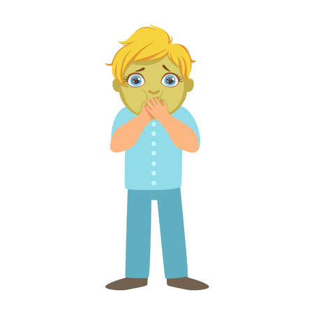 Illustration pour Nauseous Boy With Green Face,Sick Kid Feeling Unwell Because Of The Sickness, Part Of Children And Health Problems Series Of Illustrations - image libre de droit