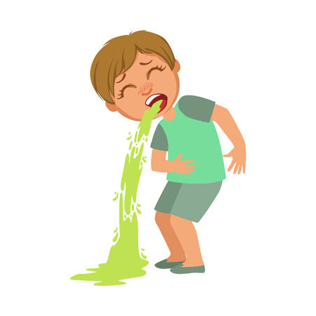 Illustration pour Boy Vomiting,Sick Kid Feeling Unwell Because Of The Sickness, Part Of Children And Health Problems Series Of Illustrations - image libre de droit
