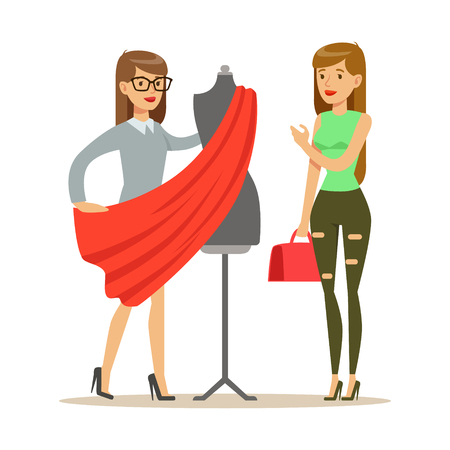 Illustration pour Woman And Designer Choosing Fabric For Dress , Part Of People Using Tailoring And Design Professional Service Set Of Vector Illustrations - image libre de droit