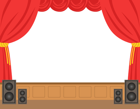 Illustration pour Theater stage with opened red curtain. Colorful cartoon character vector Illustration isolated on a white background - image libre de droit
