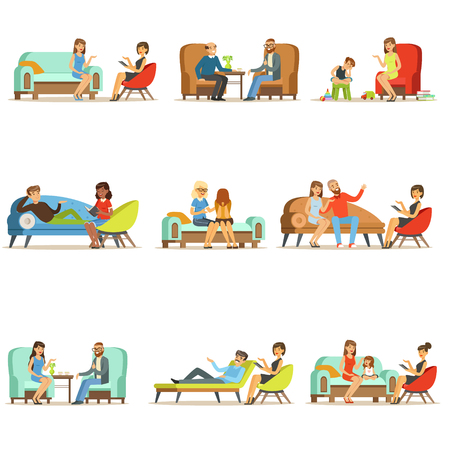 Illustration pour People talking to psychologist. Patients at a reception at the psychotherapies. Psychotherapy counseling, colorful Illustrations - image libre de droit
