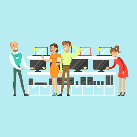 Illustration pour People choosing computer equipment with shop assistant help in appliance store colorful vector Illustration, cartoon characters - image libre de droit