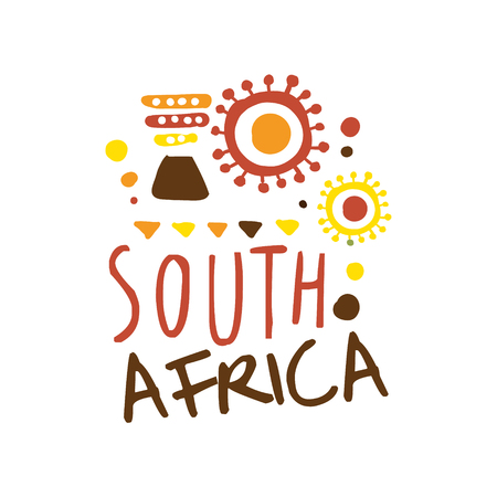 Illustration for South Africa tourism logo template hand drawn vector Illustration for travel agency, tour guide, sticker, banner, card, advertisement - Royalty Free Image