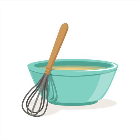 Illustration pour Ceramic bowl full of freshly prepared dough vector and whisk Illustration - image libre de droit