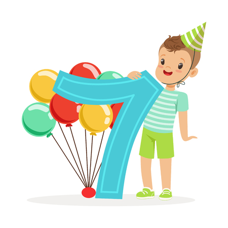 Adorable seven year old boy celebrating his birthday, colorful cartoon character vector Illustration