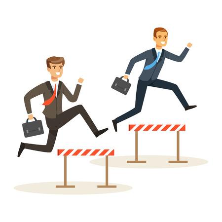 Ilustración de Two businessmen racing over hurdle obstacles, business competition vector Illustration - Imagen libre de derechos