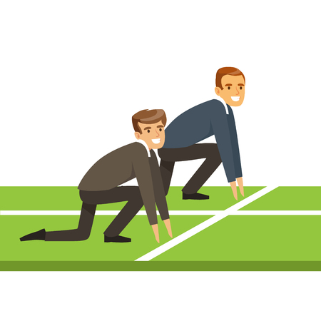 Ilustración de Business people at starting line on a race, business competition vector Illustration isolated on a white background - Imagen libre de derechos