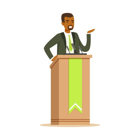 Illustration pour Politician man speaking behind the podium, public speaker character vector Illustration isolated on a white background - image libre de droit
