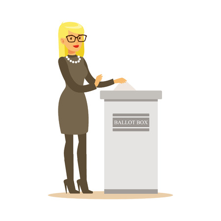 Illustration pour Woman putting a ballot into a voting box, casting vote vector character Illustration isolated on a white background - image libre de droit