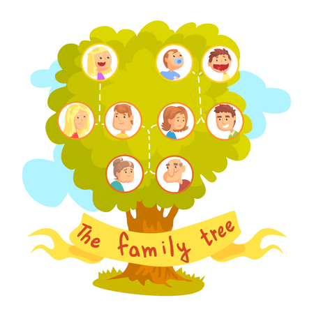 Illustration pour Family tree with portraits of relatives, genealogical tree vector Illustration isolated on a white background - image libre de droit