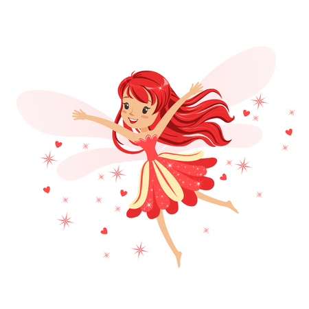 Illustration pour Beautiful smiling red Fairy girl flying colorful cartoon character vector Illustration isolated on a white background - image libre de droit
