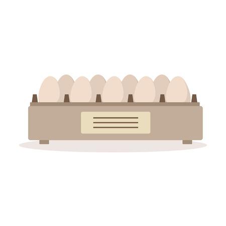 Illustration pour Incubator egg tray, poultry breeding vector Illustration - image libre de droit