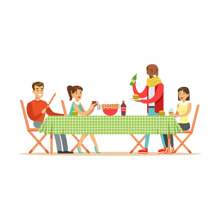 Illustration pour Happy friends enjoying barbeque, cheerful people characters at a picnic vector Illustration isolated on a white background - image libre de droit
