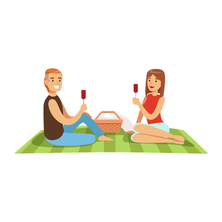 Illustration pour Young couple having picnic, man and woman characters in love sitting on a picnic plaid and drinking wine vector Illustration isolated on a white background - image libre de droit