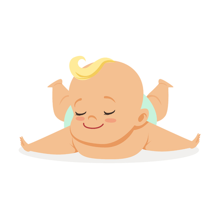 Illustration pour Sweet little baby lying on his stomach, colorful cartoon character vector Illustration - image libre de droit