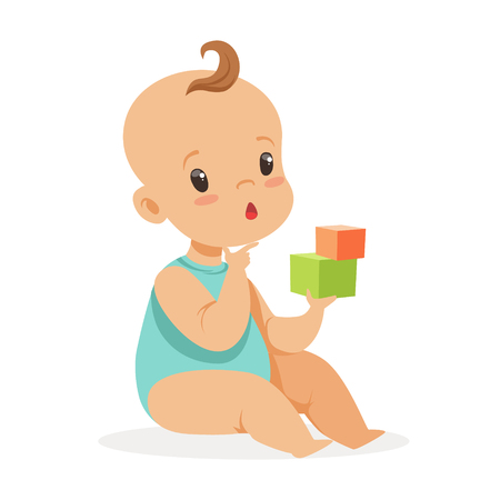 Illustration pour Sweet little baby sitting and playing with cubes, colorful cartoon character vector Illustration - image libre de droit
