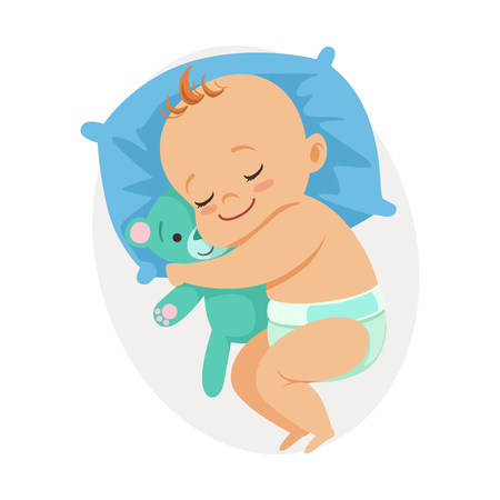 Photo pour Sweet little baby sleeping in his bed and hugging teddy bear, colorful cartoon character vector Illustration - image libre de droit