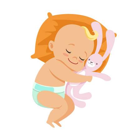 Ilustración de Adorable little baby in a diaper sleeping and hugging his soft toy hare, colorful cartoon character vector Illustration - Imagen libre de derechos