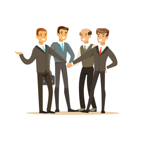 Illustration for Group of businessmen having meeting in office vector Illustration - Royalty Free Image