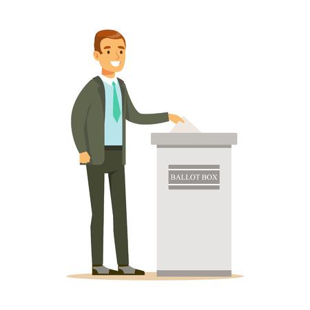 Illustration pour Man putting a ballot into a voting box, casting vote vector character Illustration - image libre de droit