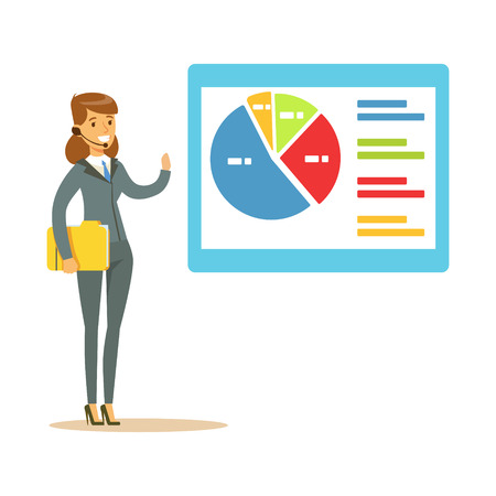 Illustration pour Smiling woman in a headset pointing at chart on a board during presentation vector Illustration - image libre de droit